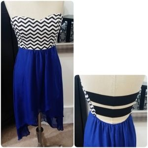Body Central | Blue Chevron Strappy High-Low Dress